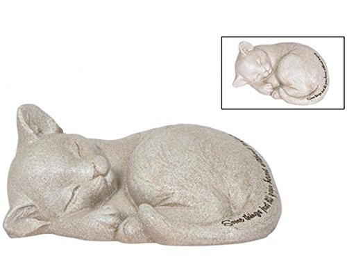 Carson Beloved Cat Laying Sleeping Cat Figurine Resin Marker, Gray, ()