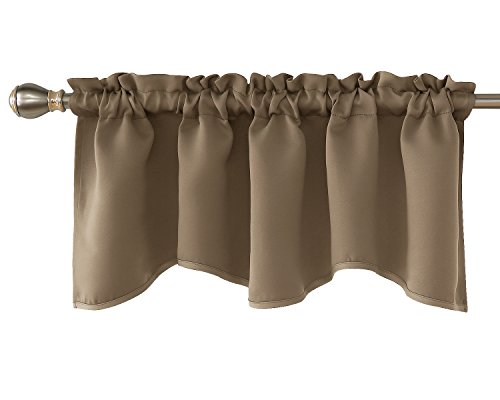 Deconovo Solid Rod Pocket Blackout Curtains Valances Window Scalloped Blackout Drapes for Bedroom 52x18 Inch Khaki 1 Panel ()