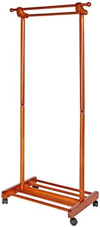 ZHIRONG コートラックマルチファンクションソリッドウッド床材プーリハンガー付きダブルロッド家庭155 * 60センチメートル