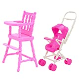 1PCS High Chair + 1PCS Baby Stroller Carriage Doll House Furniture Accessories for Barbie Children Girls Birthday Gift