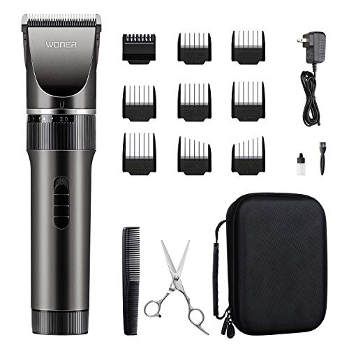 (WONER Hair Trimmers for Men, Quiet Cordless Rechargeable Hair Clippers, 16-piece Home Hair Cutting Kit, Hair)