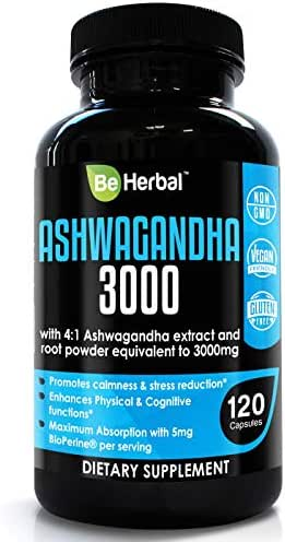 BE HERBAL Premium Organic Ashwagandha 3000mg with BioPerine - Stress Relief, Anti Anxiety, Cortisol Manager and Adrenal Support Supplement - 120 Capsules