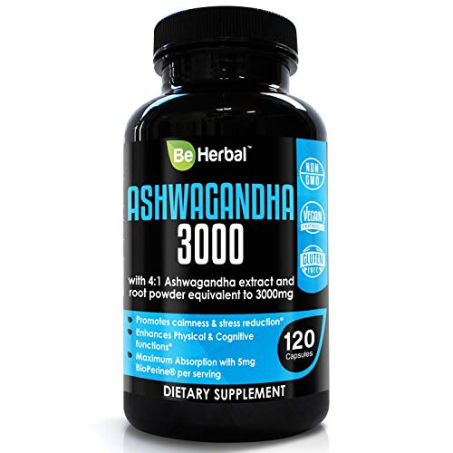 BE HERBAL Premium Organic Ashwagandha 3000mg with BioPerine - Stress Relief, Anti Anxiety, Cortisol Manager and Adrenal Support Supplement - 120 Capsules ...