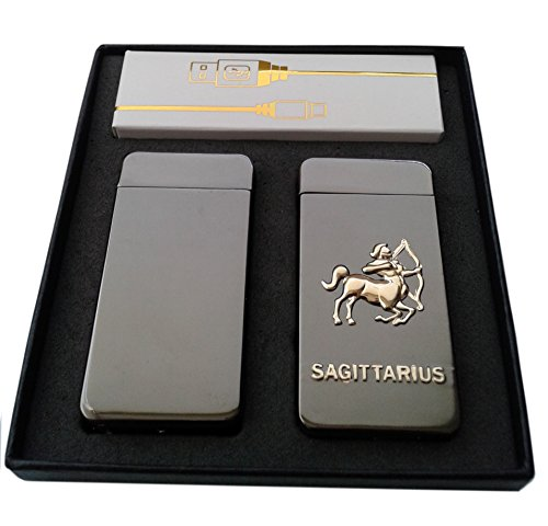 Electric Lighters Zodiac 2 Pack - Dual Arc Electronic Plasma Lighter - Tesla Coil USB Rechargeable Cigarette Lighter 4 Designs (Sagittarius)