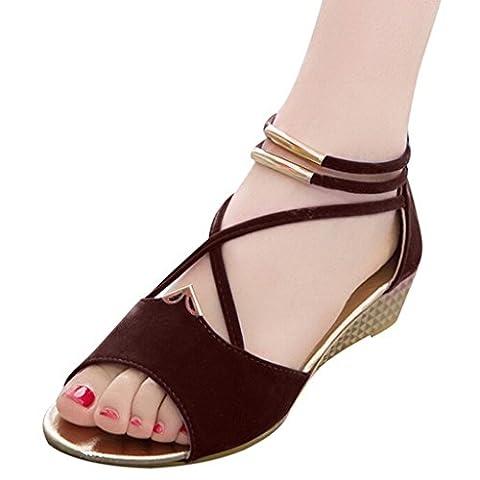 Hee Grand Women Roman Style Open Toe Cross Strap Flat Sandals Brown 5.5 B(M) US - Cross Strap Bow