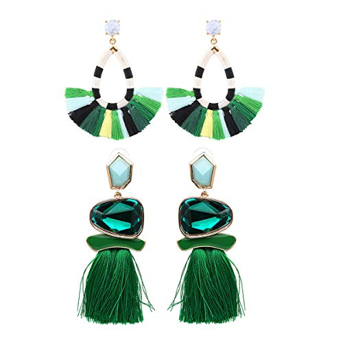 Tassel Earrings Cute Dangle Crystal Earring Thread Jewelry Bohemian Drop Earrings (Green Earrings Set)