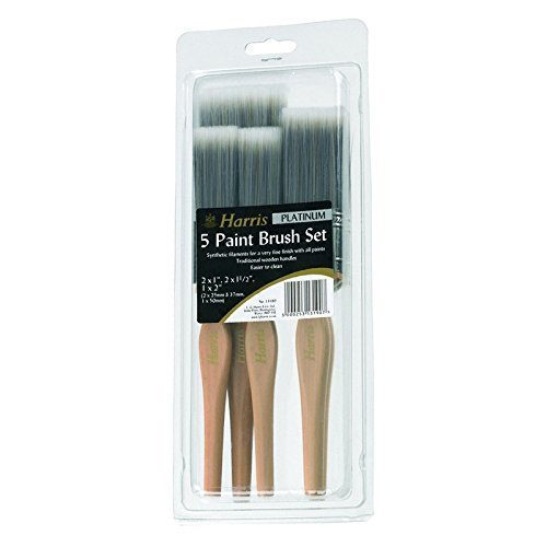 5 Sets Harris Platinum Paint Brush DIY Decorating Pack of 5 Professional Brushes With Wooden Handle in Assorted Sizes For All Type Paints & Varnishes Total 5 Sets by Harris