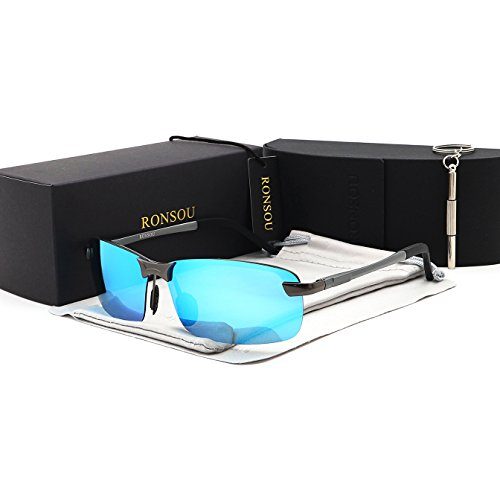 Ronsou Men UV400 Rimless Aluminium-Magnesium Polarized Sunglasses Mirrored For Driving Fishing Golf Outdoor gray frame/blue - Sunglasses Lense Blue