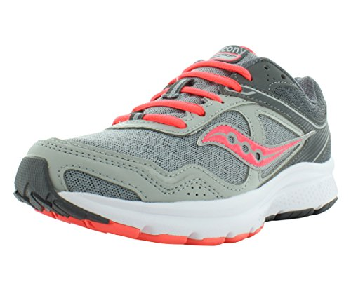 Saucony Women's Grid Cohesion 10 Grey/Coral Ankle-High Running Shoe - 9.5M by Saucony