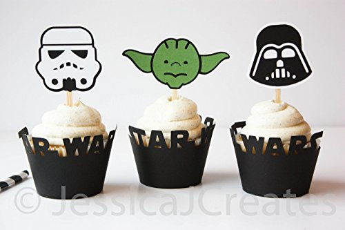 Star Wars Cupcake Toppers - Cupcake Toppers - Star Wars Party Decorations - Yoda Cupcake - Storm Trooper - Darth Vader - 12 ct