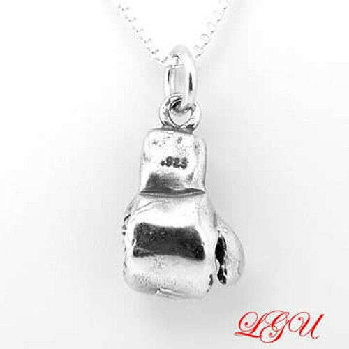 Sterling Silver Boxing Glove 3D Charm Pendant with 18