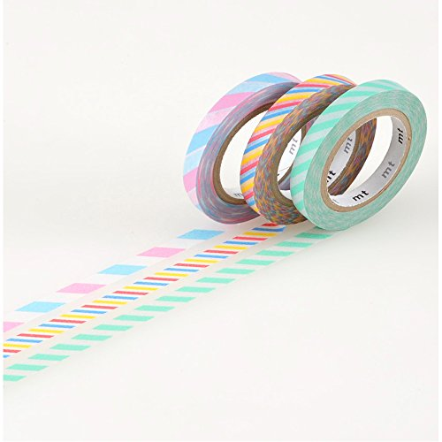 MT Washi Masking Tape, Slim, Twist Cord A, 6mm x 10m x 3 (MTSLIM10)