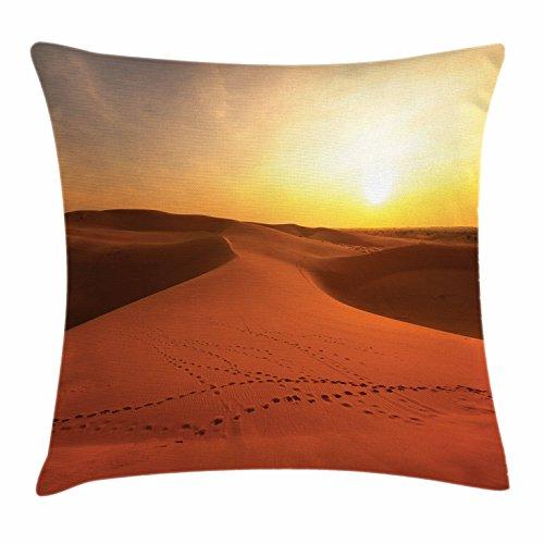 Ambesonne Desert Throw Pillow Cushion Cover, Footprints on Sand Dunes at Sunrise Hot Dubai Landscape Travel Destination, Decorative Square Accent Pillow Case, 28 X 28 inches, Dark Orange Yellow