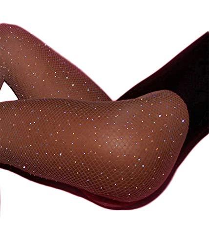 Women's High Waist Fishnet Stockings Sparkle Rhinestone Tights of MERYLURE (One Size, White Rhinestones-brown)