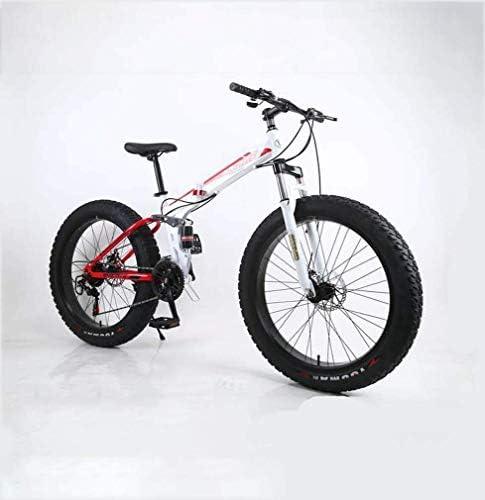 折りたたみファットタイヤメンズマウンテンバイク、17インチダブルディスクブレーキ/高炭素鋼のフレームバイク、7速、スノーモービル自転車24インチホイール