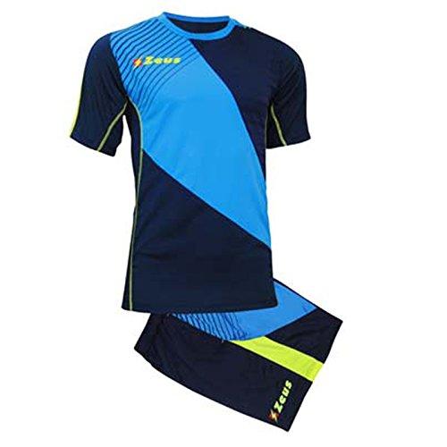 Zeus Kit Alex Herren Fußball Trikot Shirt Hosen Klein Armel Kit Fußball Volley Hallenfußball Training Blau-Royal-Gelb (L)