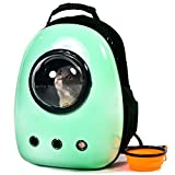 Xpect Cat Carrier Bubble Backpack Small Dog Space Capsule Knapsack Pet Travel Bag Waterproof Breathable (Light Green)