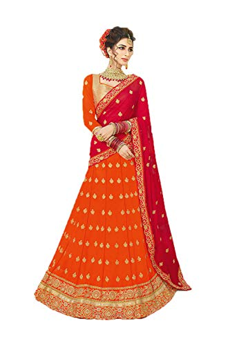 Indian Women Designer Partywear Ethnic Traditional Orange Lehenga Choli.