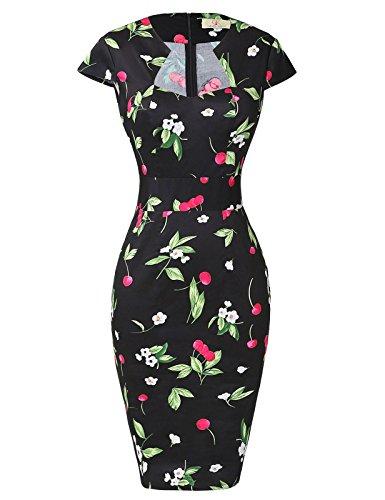 Paul Jones Womens Cap Sleeve Cocktail Vintage Dress Black(S)