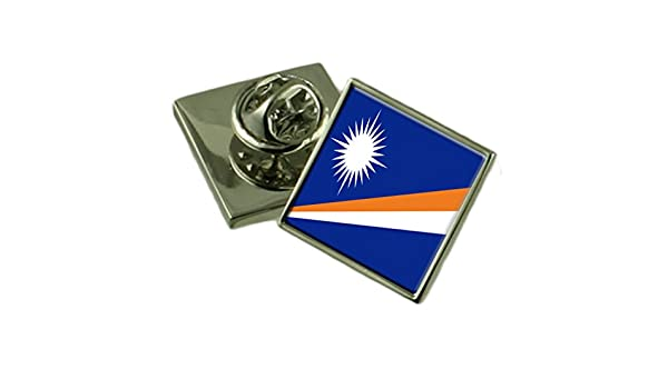 Marshall Islands Flag Lapel Pin Badge Solid Silver 925