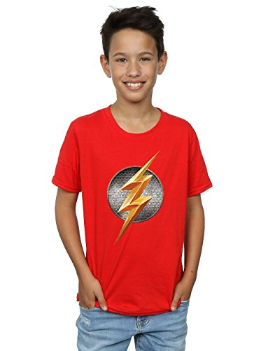 DC Comics Boys Justice League Movie Flash Emblem T-Shirt 5-6 Years Red