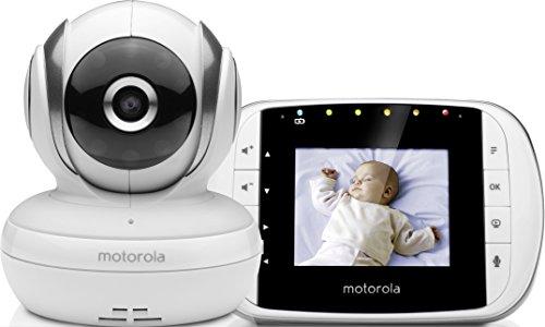 Motorola Baby MBP 33S – Vigilabebés vídeo con pantalla LCD a color de 2.8″, modo eco y visión nocturna, color blanco
