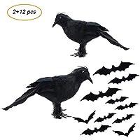 ZKLKLO Halloween Feathered Black Crows Realistic Feathered Crows Props Decor Halloween Decorations Birds -Set of 2