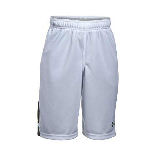 Under Armour Boys' Triple Double Shorts, White/Graphite, Youth Small