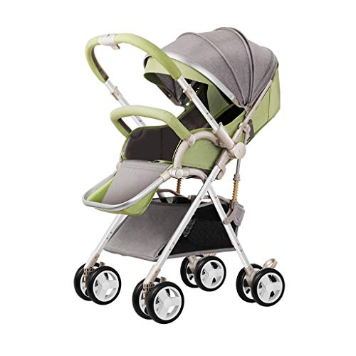 ZCY Pushchair, Fold Compact High Landscape Convenient Light Five-Point Seat Belt Suspension Two-Way Driving (Color : Green)