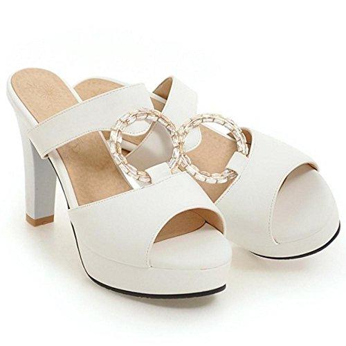 White Platform Slip Women's TAOFFEN On Summer Sandals 7zqfY