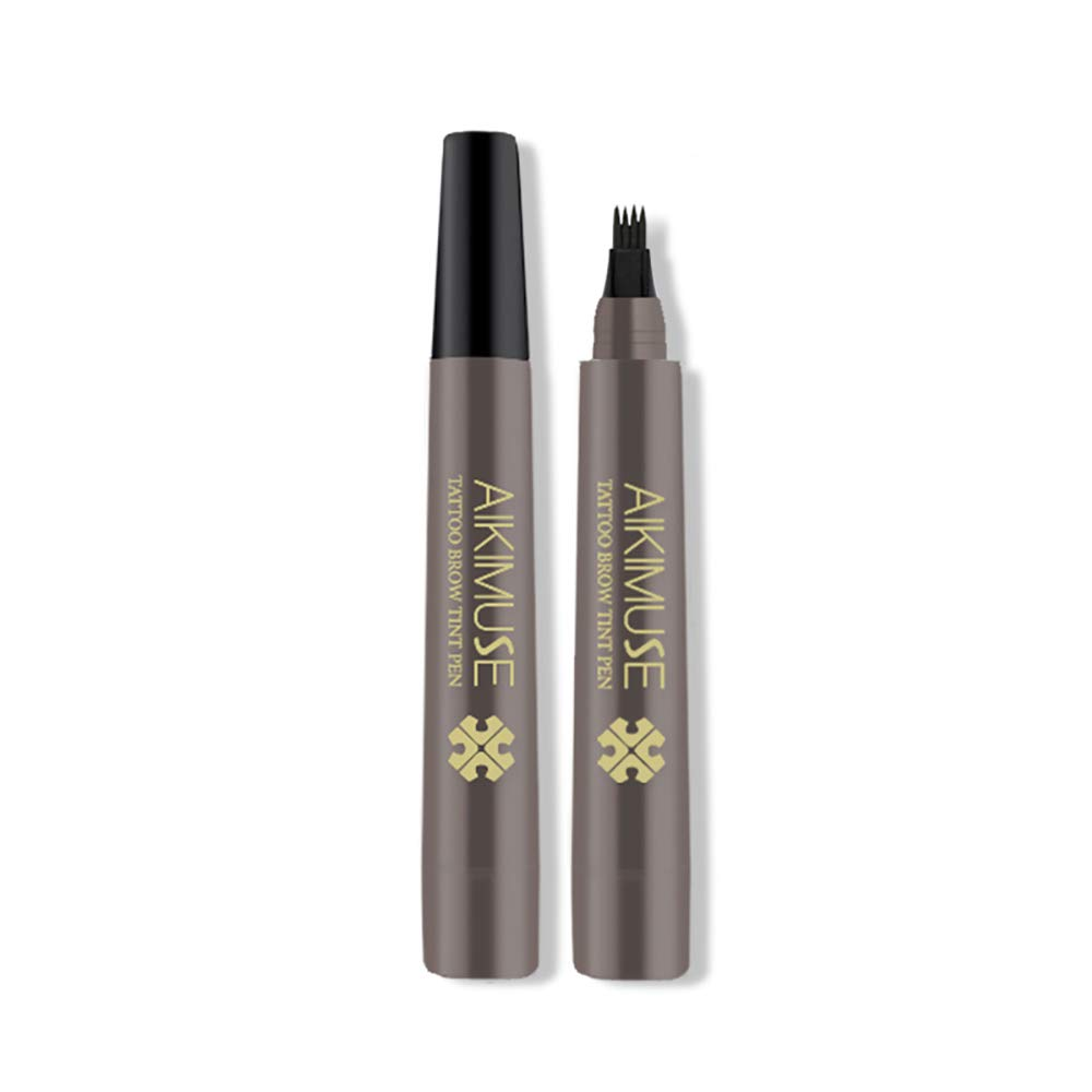 FREEORR Professional Makeup Eyebrow Tattoo Pen-2 PCS(BLACK BROWN), Waterproof Microblading Eyebrow Pencil with a Micro-Fork Tip Applicator Creates Natural Looking Brows Effortlessly, All Day Proof