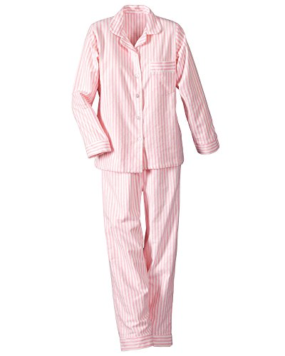 Striped Flannel Pajama Pants (National Long Sleeve Flannel Pajamas, Pink, Petite XL)
