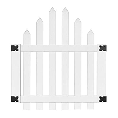 4 ft. x 3-1/2 ft. Glendale Arched Top Spaced Picket Vinyl Unassembled Fence Gate with 3 in. Pointed Picket