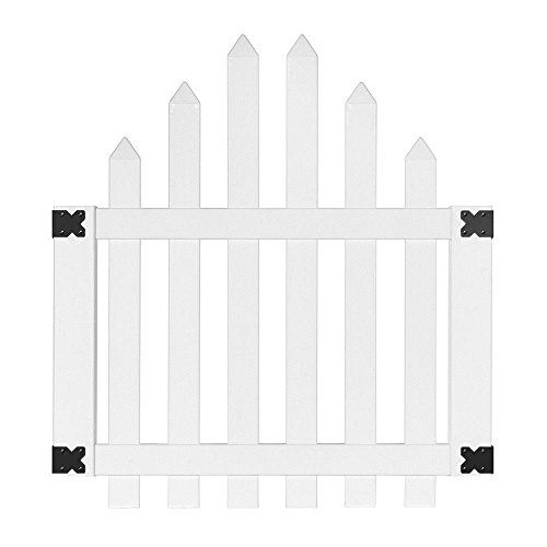 4 ft. x 3-1/2 ft. Glendale Arched Top Spaced Picket Vinyl Unassembled Fence Gate with 3 in. Pointed Picket Spaced Picket Fence