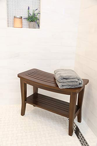 ALATEAK Teak Indoor Outdoor Patio Garden Yard Bath Shower Spa Waterproof Stool Bench 35″