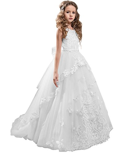 Flower Girl Dress Kids Lace Beaded Pageant Ball Gowns (Size 8, B White)