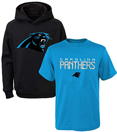 OuterStuff NFL Youth 8-20 Polyester Performance Primary Logo Hoodie & T-Shirt 2 Pack Set (Medium 10/12, Carolina Panthers)