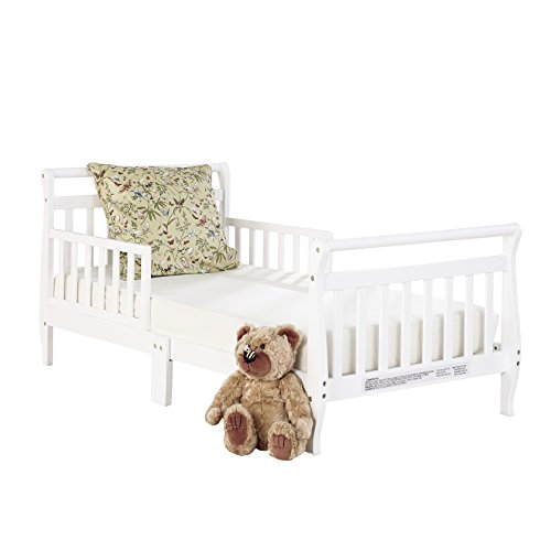 Big Oshi Classic Design Toddler Bed - Sturdy Wooden Frame for Extra Safety - Modern Slat Design is Great for Boys and Girls - Low to Ground - Full Bed Frame Set Including Headboard, White