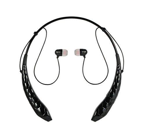PowerMore Audiophile-grade Headphones Wireless Bluetooth Music Stereo Sports Headset Vibration Neckband Style for Bluetooth Devices (Black)