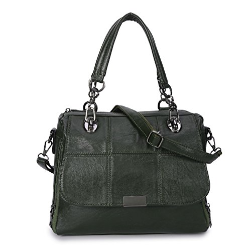 Women's Leather Handbag Top Handle Purse Crossbody Hobo Bag for Ladies Shoulder Tote Green