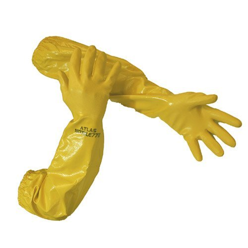 Atlas 772 26-inch Nitrile Medium Elbow Chemical Resistant Yellow Gloves, 6-Pairs by ATLAS (Image #1)