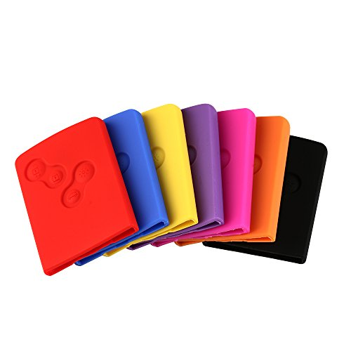 CALAP STORE - 1 Pcs Silicone Rubber Keychain Sleeve Carry Case Cover Protective Sticker Holder For Renault Clio Megane 2 3 Keychain Case ( Random Color )