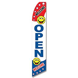 Swooper Flag w/ Pole & Spike Kit Red White Blue Smile Face WELCOME OPEN