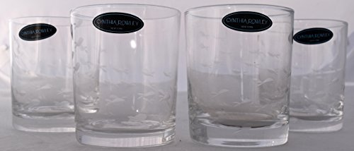 Four (4)-Piece Cynthia Rowley Clear Etched Double Old Fashioned (DOF) Tropical Fish Glass Set