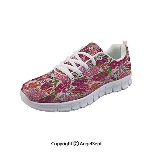 Non Slipping Shoes BlackBerry and Wild Flowers Style Running ()
