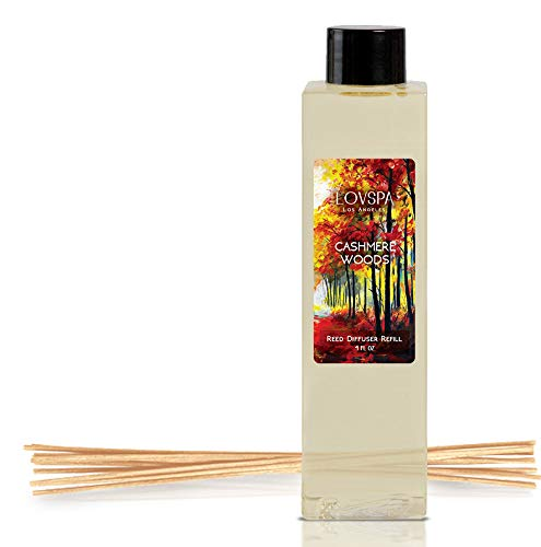 LOVSPA Cashmere Woods Reed Diffuser Oil Refill with Replacement Reed Sticks | Amber Mimosa, Vanilla Musk & Apricot Nectar | Scent for Kitchen or Bathroom, 4 oz | Made in The USA]()