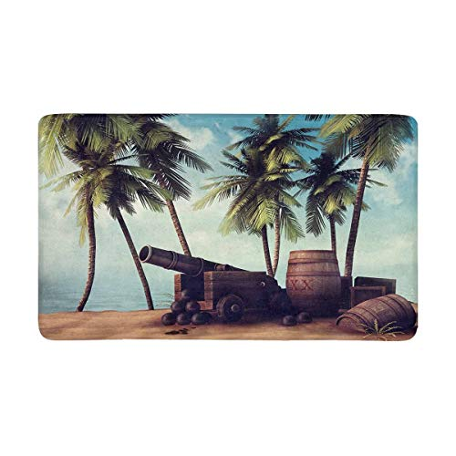 shirnaile_2ee Pirate Cannon and Barrels on Tropical Beach with Palm Trees Doormat Anti-Slip Entrance Mat Floor Rug Indoor/Outdoor Door Mat Home Decor, Rubber Backing Large 16W X 24L Inches