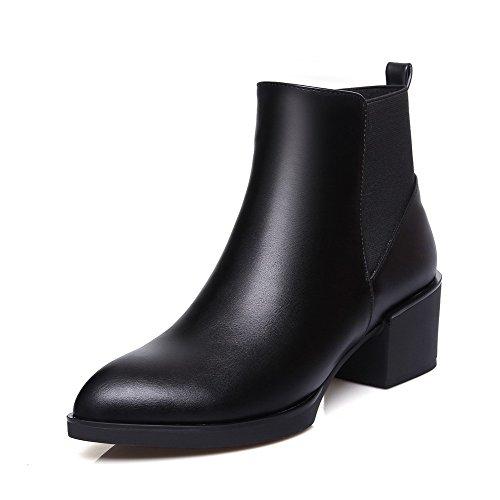 AgooLar Damen Rein Hoher Absatz Schließen Zehe Mattglasbirne Reißverschluss Stiefel, Schwarz, 41
