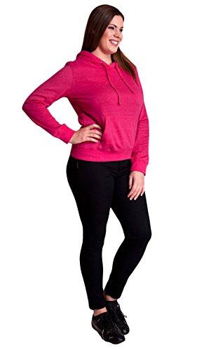 Fuchsia Ladies Plus Size Soft Drawstring Hoodie Kangaroo Pocket