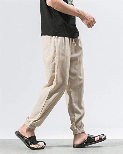 Mode Leggero Beige Larghi Harem Primavera Marca Tinta Uomo Tuta Bolawoo A Pantaloni Da Elasticizzati Autunno Lino Di Casual Unita Pw1IzXUq